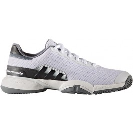 Adidas Junior Barricade XJ White Silver Tennis Shoe